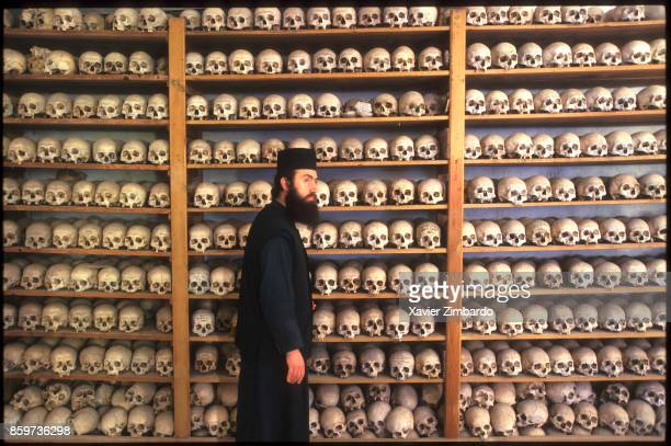 The skulls of monks who died while serving in a monastery are preserved in the monastery's ossuary here in the Russian Skete of Saint Andrew...