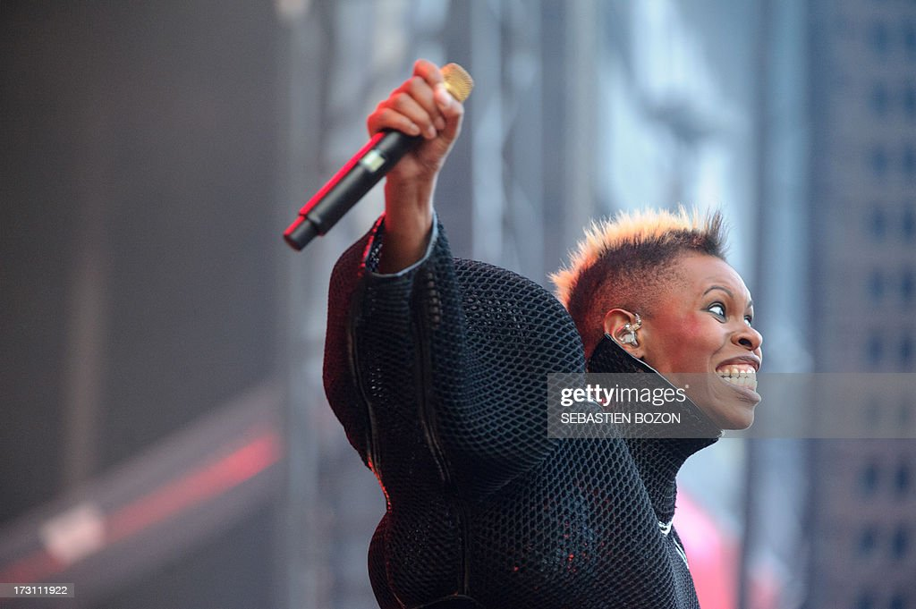 The Skunk Anansie British band lead singer Deborah Dyer performs on stage on July 7, 2013 at the Eurockennes de Belfort music festival in the French eastern city of Belfort.