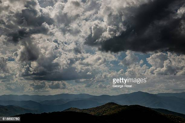 The sky and fall tree colors on Max Patch a bald mountain located along the Appalachian Trail is viewed on October 21 2016 in Hot Springs North...