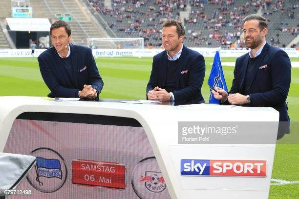 The sky experts Sebastian Hellmann Lothar Matthaeus and Christoph Metzelder during the game between Hertha BSC and RB Leipzig on may 6 2017 in Berlin...