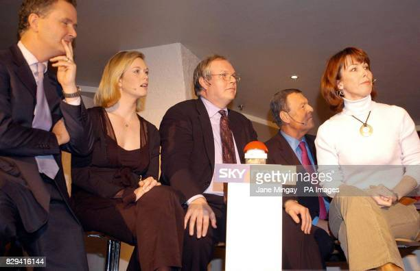 Martin Stanford Julie Etchingham Adam Boulton Jeremy Thompson and Kay Burley during the 'Battle of the News Channels' charity quiz hosted by Alastair...