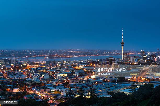 The sky tower and Auckland city