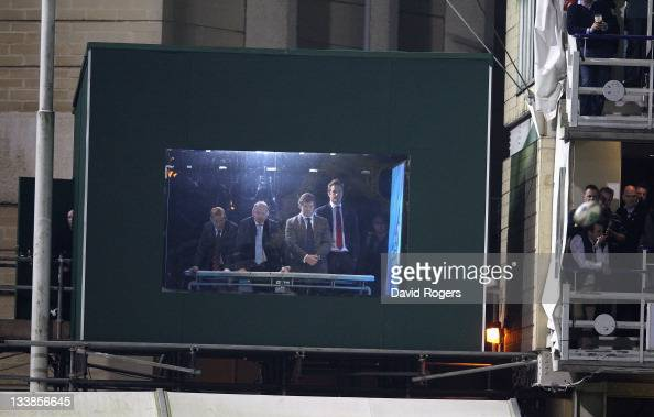 The Sky TV rugby pundits Simon Lazenby Ieuan Evans Paul Wallace and Will Greenwood look on from their outside broadcast studio during the Heineken...