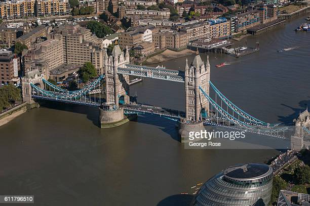 The skyline and Tower Bridge is viewed from the observation deck of The Shard on September 11 in London England The collapse of Great Britain appears...