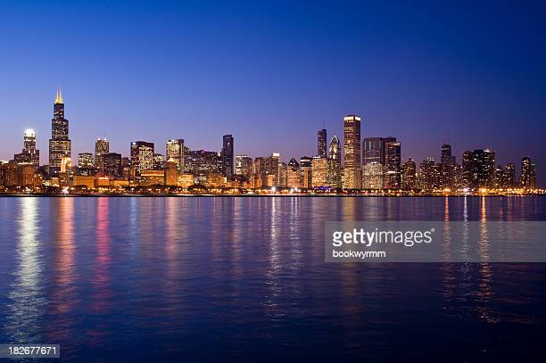 The skyline at night in Chicago
