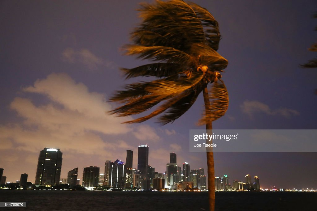 The skyline is seen as the outerbands of Hurricane Irma start to reach Florida on September 9, 2017 in Miami, Florida. Florida is in the path of the Hurricane which may come ashore at category 4.