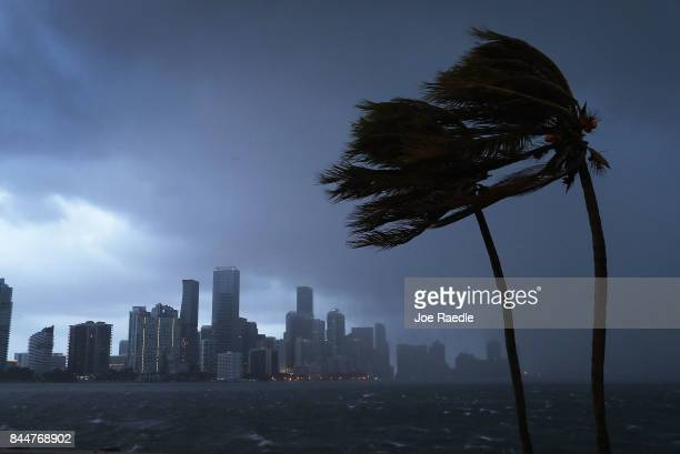 The skyline is seen as the outerbands of Hurricane Irma start to reach Florida on September 9 2017 in Miami Florida Florida is in the path of the...