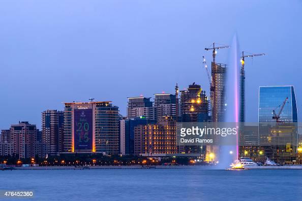 The skyline of Baku ahead of Baku 2015 the 1st European Games on June 9 2015 in Baku Azerbaijan