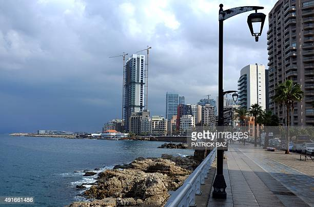 The skyline of Beirut's corniche is seen on October 7 2015 Lebanon is buzzing with buildings as developers have turned old buildings into highend to...