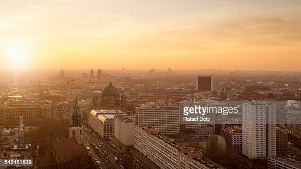 The skyline of Berlin at sunset
