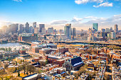 The skyline of Boston in Massachusetts, USA in winter