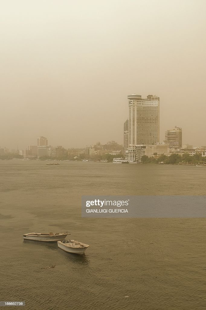 The skyline of Cairo is seen on May 13, 2013 as a sandstorm sweeps through the Egyptian capital.