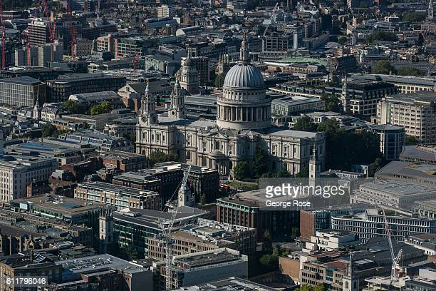 The skyline of Central London and St Paul's Cathedral is viewed from the observation deck of The Shard on September 11 in London England The collapse...