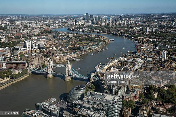 The skyline of Central London is viewed from the observation deck of The Shard on September 11 in London England The collapse of Great Britain...