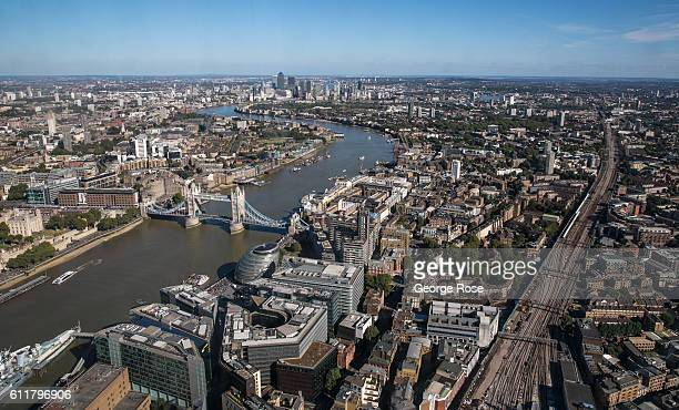 The skyline of East London and Canary Wharf is viewed from the observation deck of The Shard on September 11 in London England The collapse of Great...