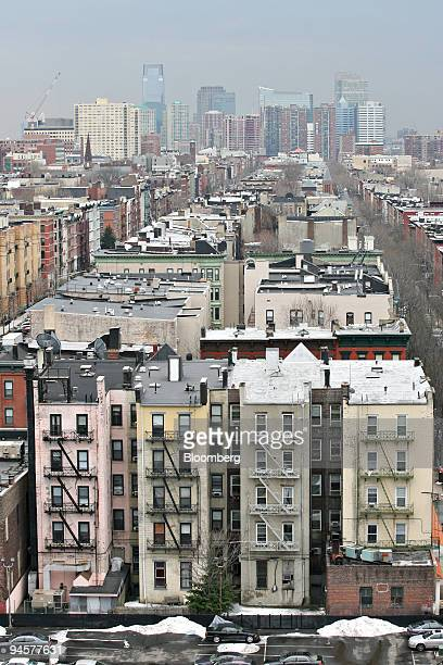 The skyline of Jersey City New Jersey is seen beyond apartment buildings in Hoboken New Jersey March 27 2007 Frank Sinatra and Marlon Brando helped...