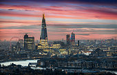 The skyline of London, United Kingdom, during sunset time