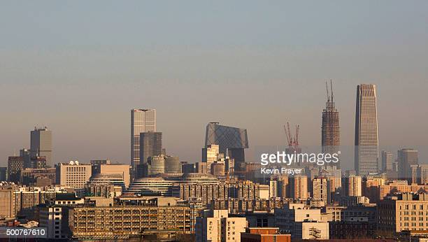 The skyline of the city can be seen after severe smog and pollution cleared in the late afternoon on December 10 2015 in Beijing China The Beijing...