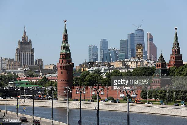 The skyscrapers of Moscow City business district sit on the skyline beyond the Kremlin building right in Moscow Russia on Monday June 8 2015 Rents in...