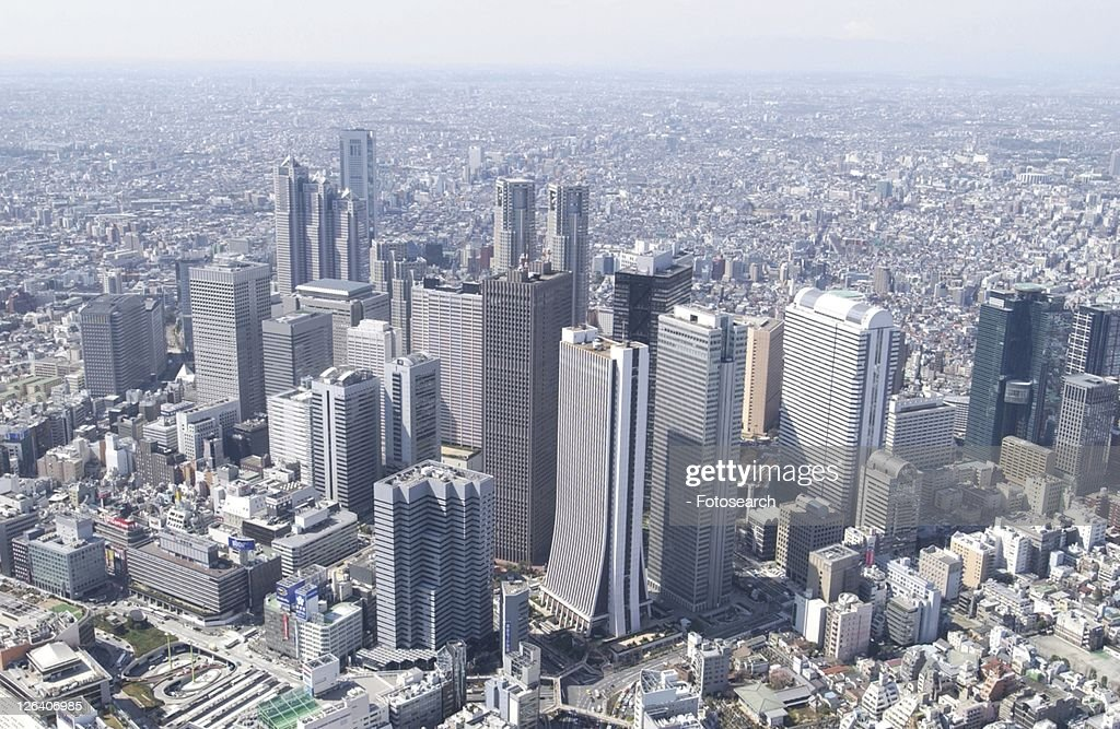 The Skyscrapers of Nishishinjuku, Aerial View, Pan Focus : Stock Photo