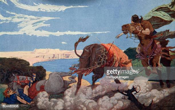 The slaying of the bull of Ishtar' 1915 Illustration from Myths of Babylonia and Assyria by Donald Alexander Mackenzie 1915