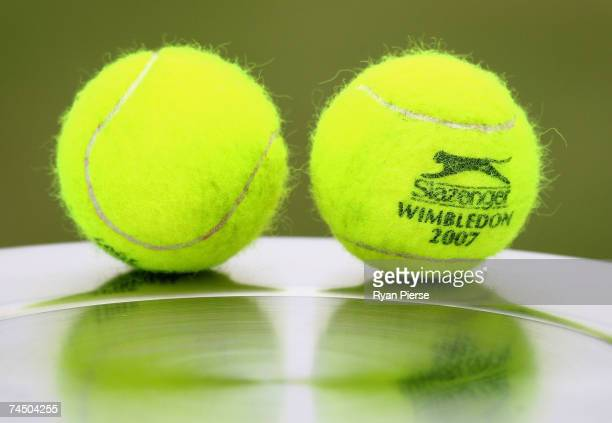 The Slazenger 2007 Wimbledon Tournament Ball is seen during qualifying for the DFS Classic at the Edgbaston Priory Club on June 10 2007 in Birmingham...