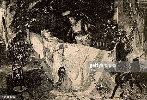 The Sleeping Beauty The miracle of love Engraving in The Iberian Illustration 1885