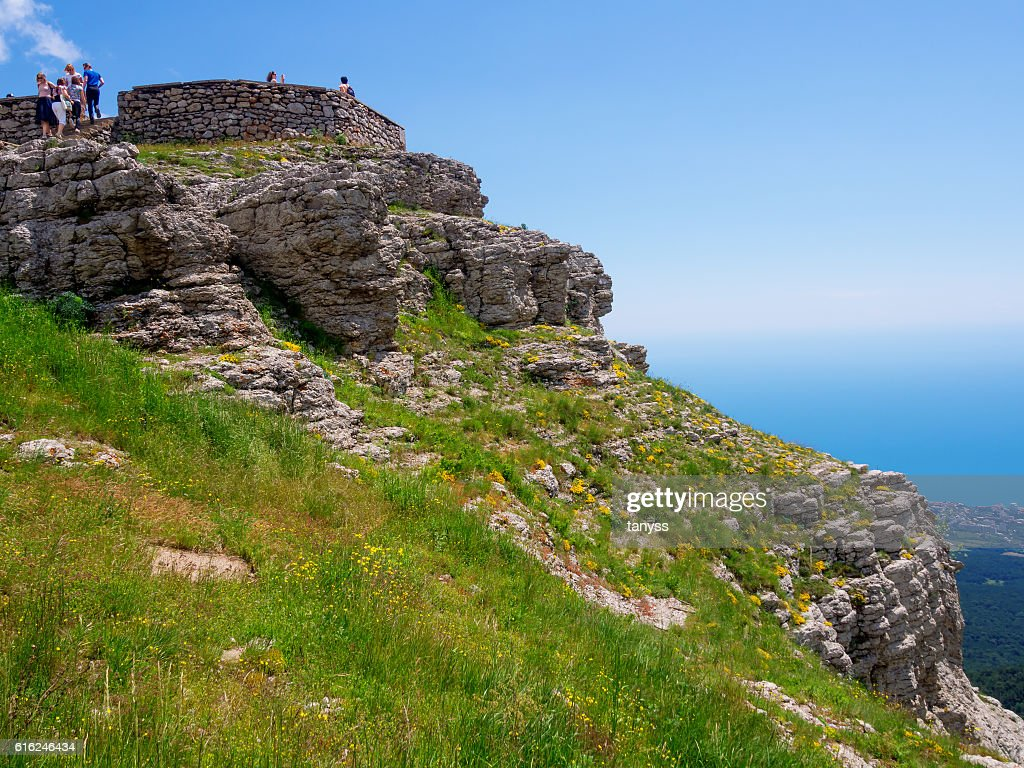 The slope from the observation deck of Mount Ai-Petri : Stock Photo