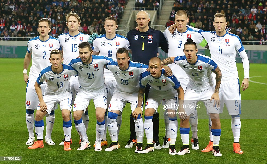 The Slovakia team pose for a team photo during the international friendly match between Slovakia and Latvia held at Stadion Antona Malatinskeho on...