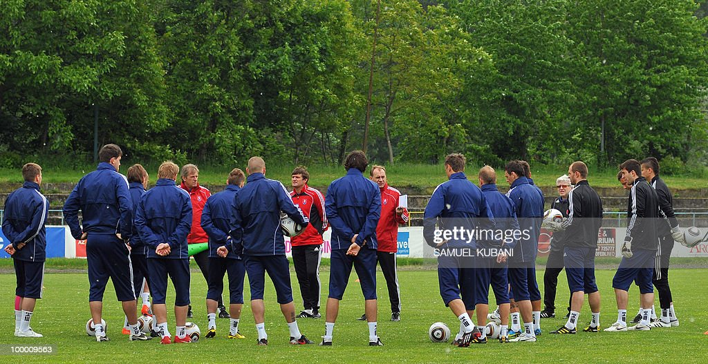 The Slovakian national football team attends a training session on May 20, 2010, at their training camp in Piestany, prior to the FIFA World cup 2010 held in South Africa.