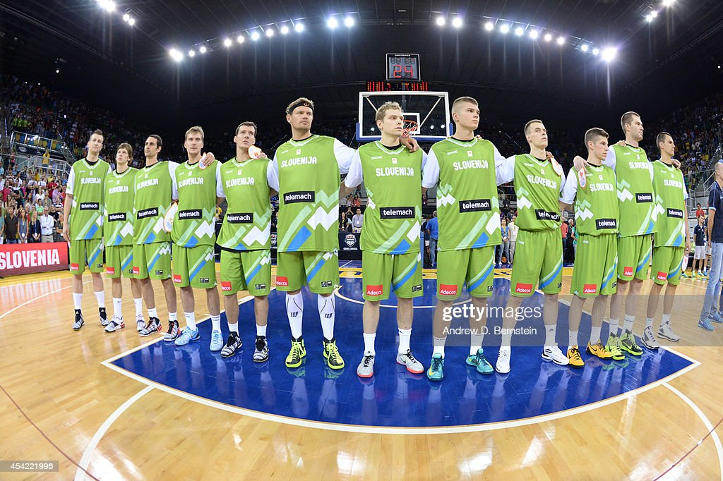 The Slovenia Basketball Men's National Team stands for the National Anthem against the USA Basketball Men's National Team at Gran Canaria Arena in Las Palmas, Gran Canaria, Spain on August 26, 2014.