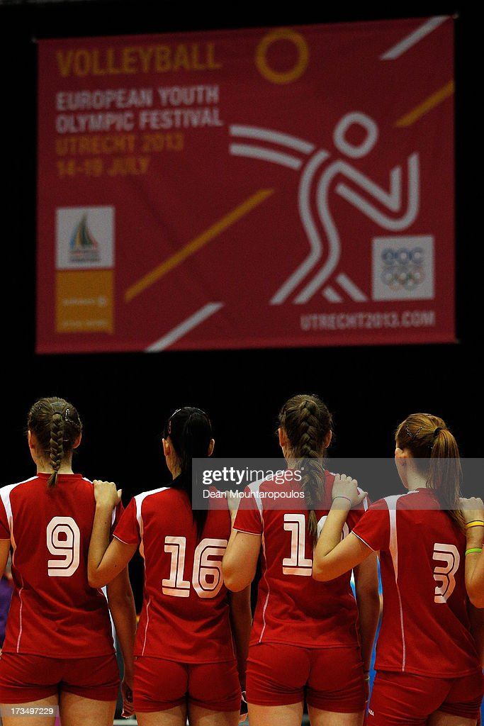 The Slovenia team stand for the national anthem during the Girls Volleyball match between Slovenia and Turkey on Day 1 of the European Youth Olympic Festival held at Jaarbeurs Utrecht on July 15, 2013 in Utrecht, Netherlands.