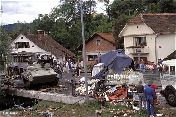 The Slovenian civil war in Yugoslavia on June 27 1991 Yugoslav army apc's attacked by Slovenes on a blockade