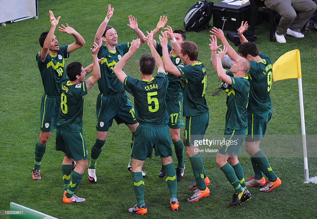 The Slovenian team celebrates after victory in the 2010 FIFA World Cup South Africa Group C match between Algeria and Slovenia at the Peter Mokaba Stadium on June 13, 2010 in Polokwane, South Africa.