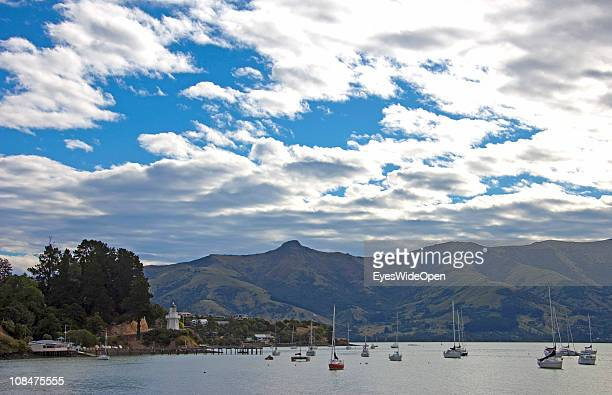 The small city of Akaroa on the Banks Peninsula close to Christchurch New Zealand on December 13 South Island