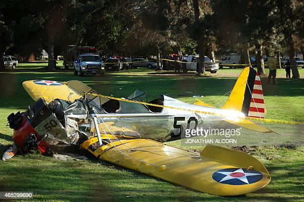 The small plane owned by US actor Harrison Ford is seen after crashing at the Penmar Golf Course in Venice California 'Indiana Jones' actor Harrison...