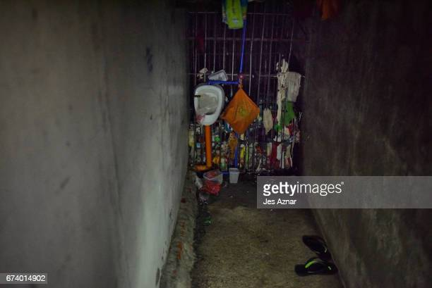 The small secret cell behind a wooden cabinet where police keep prisoners on April 27 2017 in Manila Philippines The commission on Human Rights...