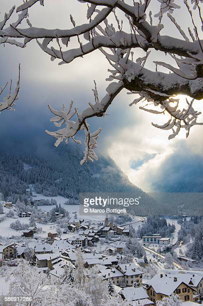 The small town of Filisur with snow in winter. Switzerland, Europe