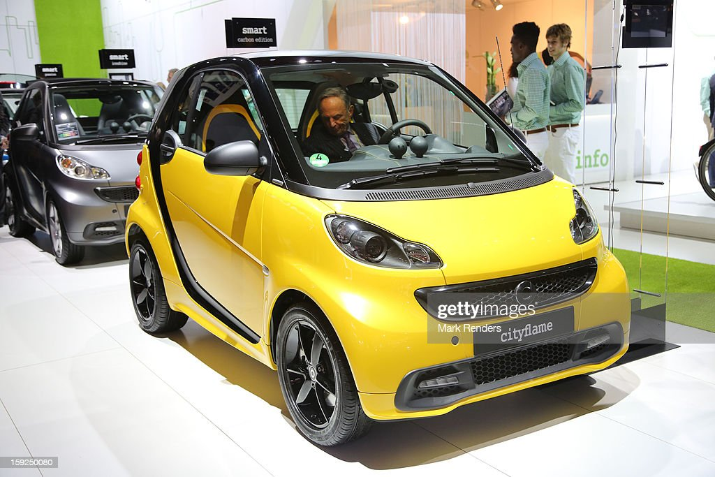 The Smart Cityflame is displayed at the 91st edition of the European Motor Show at Brussels Expo on January 10, 2013 in Brussels, Belgium.