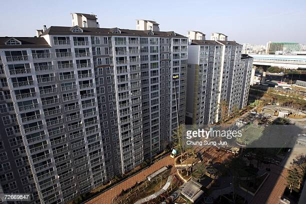 The Smart Homes complex is seen on November 29 2006 in Incheon South Korea The Home Network uses advanced technology to improve quality of life by...