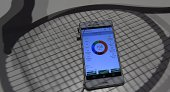 The Smart Tennis Sensor app is displayed on a Xperia Z3 smartphone at the booth of Japanese giant Sony on the opening day of the consumer electronics...