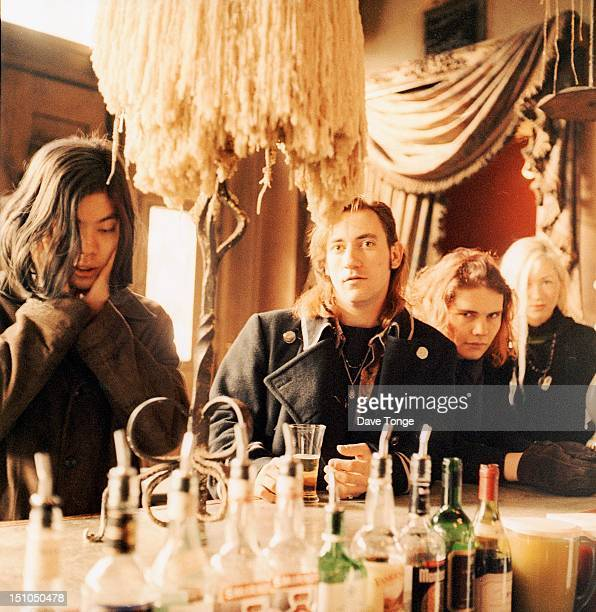 The Smashing Pumpkins portrait Notting Hill London UK 1992 Left to right James Iha Jimmy Chamberlin Billy Corgan and D'arcy Wretzky