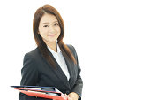 The smile businesswoman who enjoys work