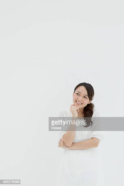 The smiling face of young woman