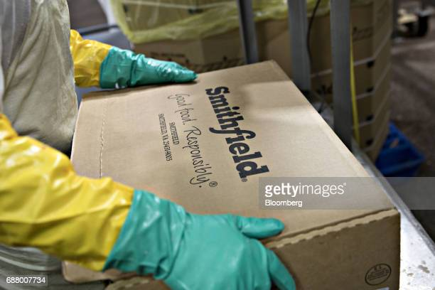 The Smithfield Foods Inc logo is displayed on a box at the company's pork processing facility in Milan Missouri US on Wednesday April 12 2017 WH...