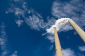 The smoke stacks at American Electric Power's Mountaineer coal power plant in New Haven West Virginia October 30 2009 In cooperation with AEP the...