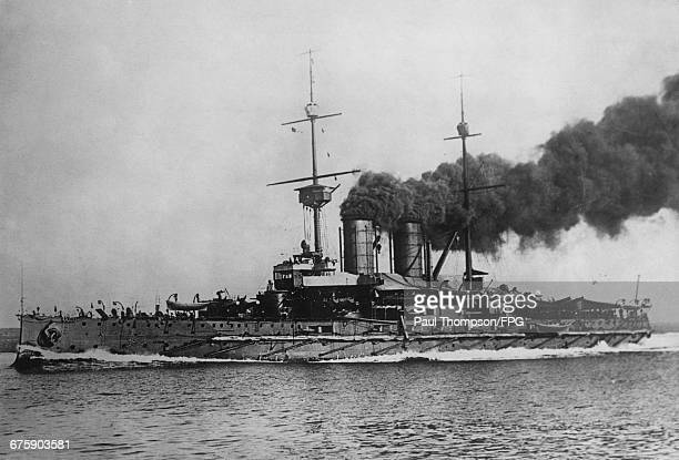 The SMS Erzherzog Franz Ferdinand a Radetzkyclass predreadnought battleship of 2nd Division of the 1st Battle Squadron of the the AustroHungarian...