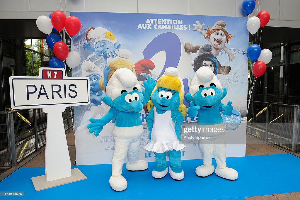 The Smurfs in costume attend the 'Smurfs 2' Paris Premiere at UGC Cine Cite Bercy on July 28, 2013 in Paris, France.