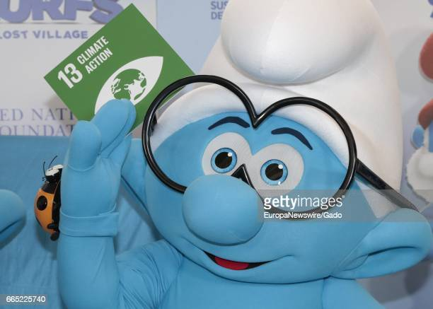 The Smurfs visit the UN Headquarters in New York to Celebrate the International Day Of Happiness New York City New York March 18 2017