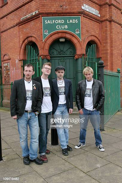 The Smyths a tribute band to 1980s indie band The Smiths pose for a group portrait outside Salford Lads Club Manchester UK 10th April 2005 The Smiths...